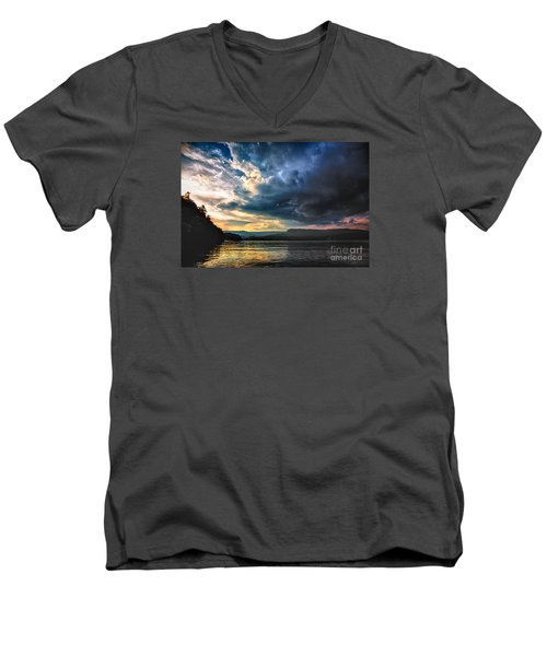 Summer At Lake James Men's V-Neck T-Shirt by Robert Loe
