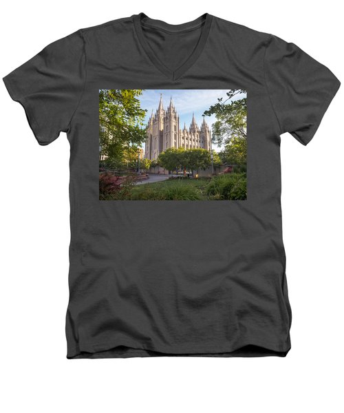 Summer At Temple Square Men's V-Neck T-Shirt
