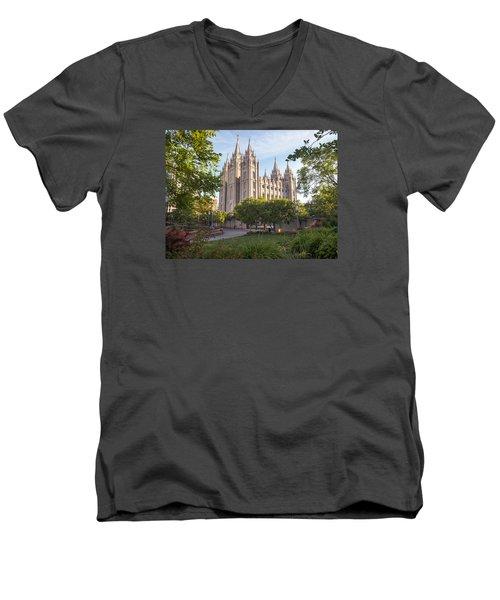 Summer At Temple Square Men's V-Neck T-Shirt