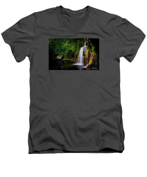 Men's V-Neck T-Shirt featuring the photograph Summer At Wolf Creek Falls by Rikk Flohr