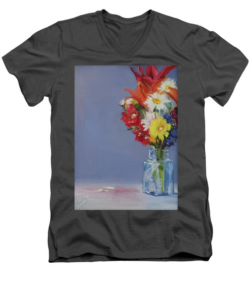 Men's V-Neck T-Shirt featuring the painting Summer Bouquet by Jane Autry
