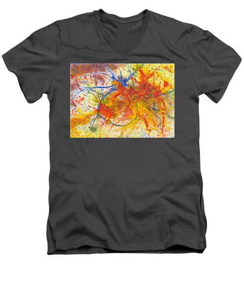 Summer Branches Alfame With Flower Acrylic/water Men's V-Neck T-Shirt