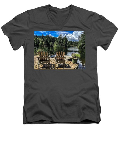 Summer By Eagle Lake Men's V-Neck T-Shirt by William Wyckoff