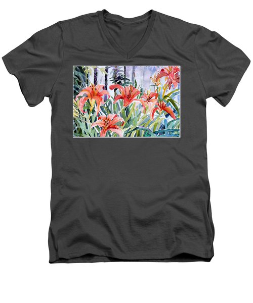 My Summer Day Liliies Men's V-Neck T-Shirt by Mindy Newman