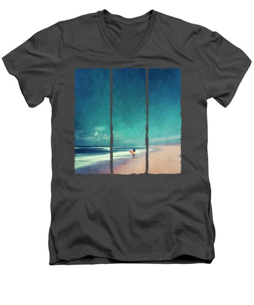 Summer Days - Abstract Seascape With Surfer Men's V-Neck T-Shirt