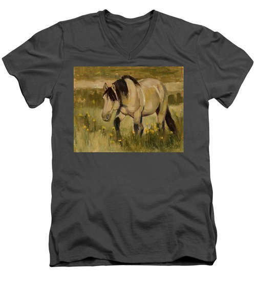 Men's V-Neck T-Shirt featuring the painting Summer Days by Billie Colson