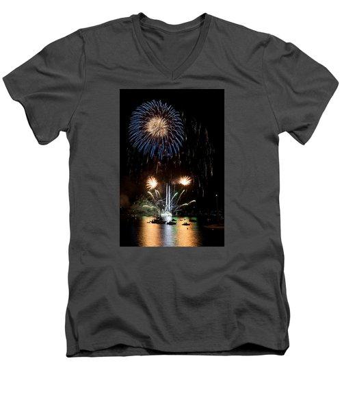 Summer Fireworks I Men's V-Neck T-Shirt by Helen Northcott