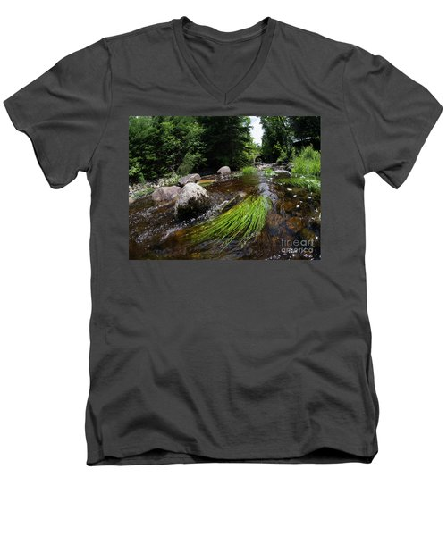 Summer Flow Of Water Near Rangeley Maine  -63322 Men's V-Neck T-Shirt