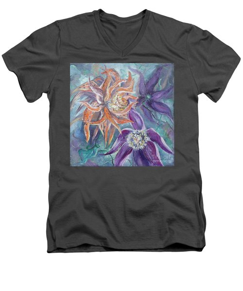 Men's V-Neck T-Shirt featuring the painting Summer Flowers No. 2 by Ryn Shell