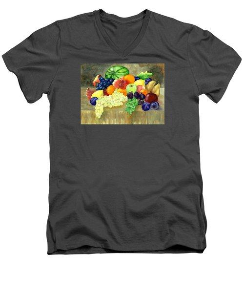 Summer Harvest Men's V-Neck T-Shirt by Sharon Mick