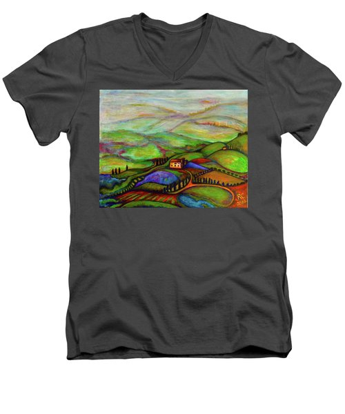Men's V-Neck T-Shirt featuring the painting Summer Hills by Rae Chichilnitsky