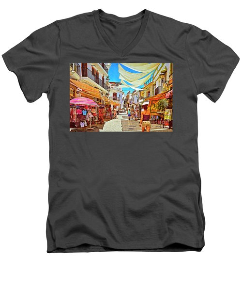 Men's V-Neck T-Shirt featuring the photograph Summer In Malaga by Mary Machare