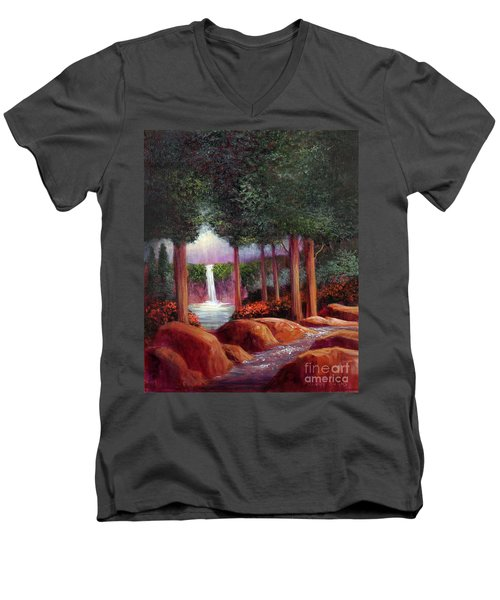 Men's V-Neck T-Shirt featuring the painting Summer In The Garden Of Eden by Randol Burns