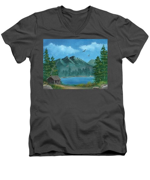 Men's V-Neck T-Shirt featuring the painting Summer In The Mountains by Sheri Keith