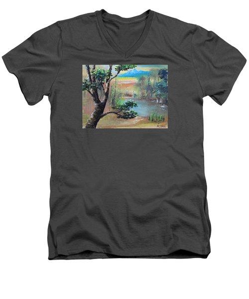 Summer Leaves Men's V-Neck T-Shirt by Remegio Onia