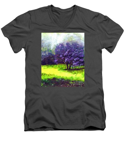 Men's V-Neck T-Shirt featuring the painting Summer Mist by Patricia Griffin Brett
