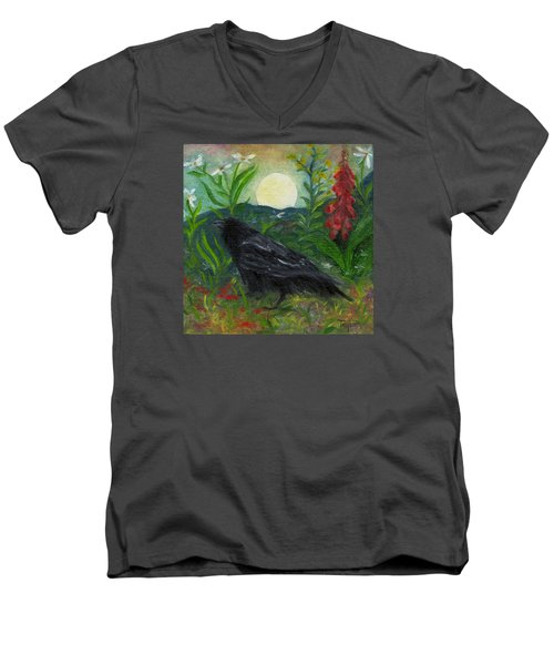 Summer Moon Raven Men's V-Neck T-Shirt