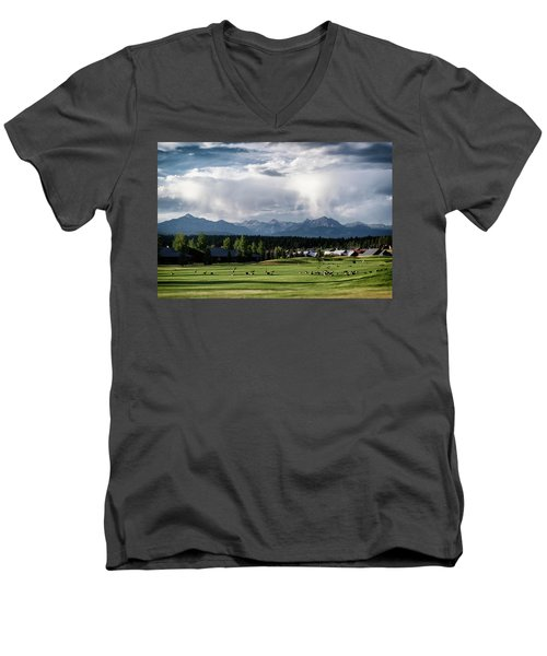 Summer Mountain Paradise Men's V-Neck T-Shirt by Jason Coward