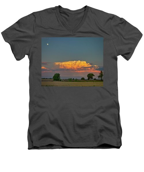Men's V-Neck T-Shirt featuring the photograph Summer Night Storms Brewing And Moon Above by James BO Insogna