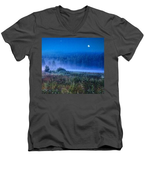 Men's V-Neck T-Shirt featuring the photograph Summer Night by Vladimir Kholostykh