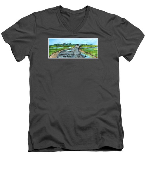 Men's V-Neck T-Shirt featuring the painting Summer On Lieutenant's Island by Rita Brown