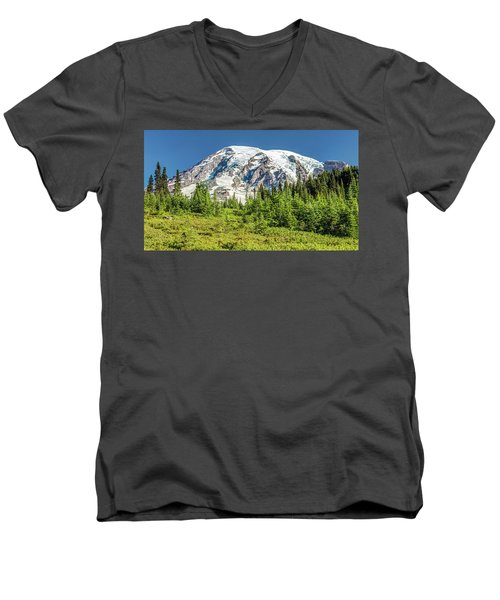 Men's V-Neck T-Shirt featuring the photograph Summer On Mount Rainier by Pierre Leclerc Photography