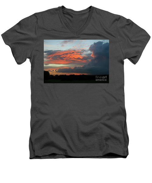 Summer Sky On Fire  Men's V-Neck T-Shirt