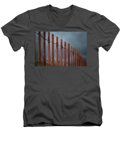 Men's V-Neck T-Shirt featuring the photograph Summer Storm Beach Fence by Laura Fasulo