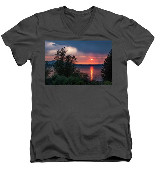 Men's V-Neck T-Shirt featuring the photograph Summer Storm by Jan Davies