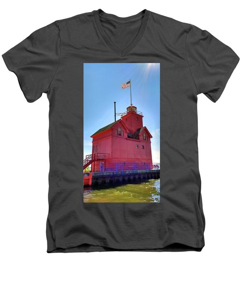 Men's V-Neck T-Shirt featuring the photograph Summer Sun And Big Red by Michelle Calkins
