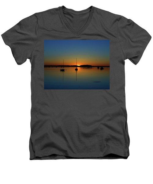 Summer Sunset Monument Beach Men's V-Neck T-Shirt