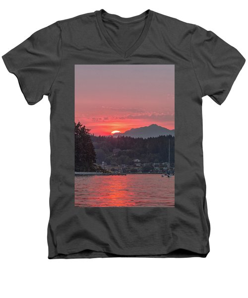 Summer Sunset Over Yukon Harbor.4 Men's V-Neck T-Shirt
