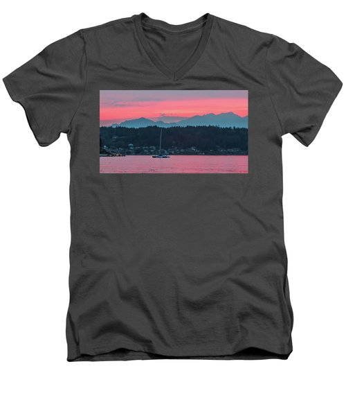 Summer Sunset Over Yukon Harbor.5 Men's V-Neck T-Shirt