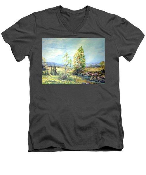 Summer Time Men's V-Neck T-Shirt by Dorothy Maier