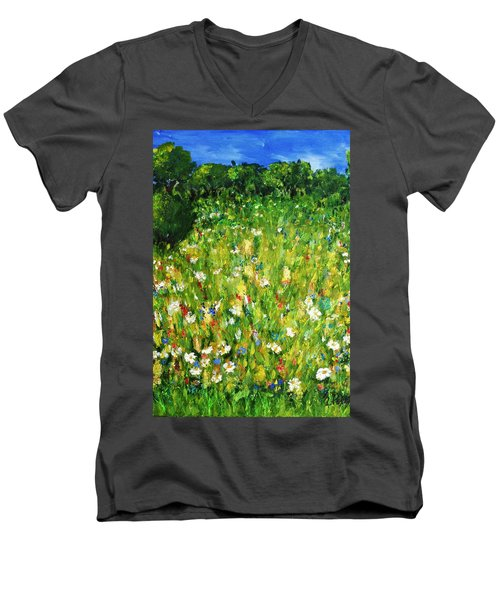 Men's V-Neck T-Shirt featuring the painting The Glade by Evelina Popilian