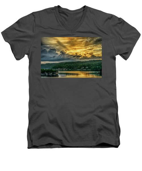 Summersville Lake Sunrise Men's V-Neck T-Shirt