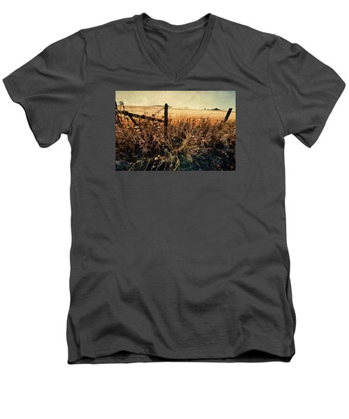 Men's V-Neck T-Shirt featuring the photograph Summertime Country Fence by Steve Siri