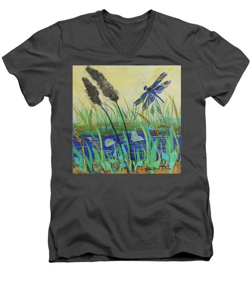 Men's V-Neck T-Shirt featuring the painting Summertime Dragonfly by Robin Maria Pedrero