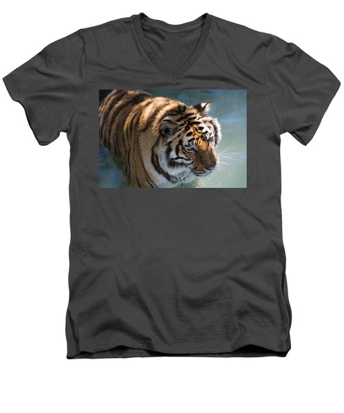 Men's V-Neck T-Shirt featuring the photograph Summertime Wading by Colleen Coccia
