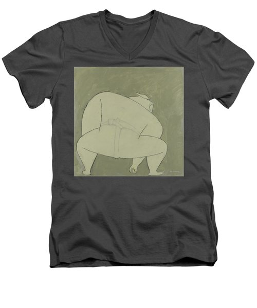 Men's V-Neck T-Shirt featuring the painting Sumo Wrestler by Ben Gertsberg