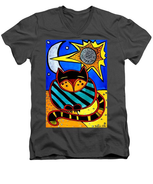 Sun And Moon - Honourable Cat - Art By Dora Hathazi Mendes Men's V-Neck T-Shirt