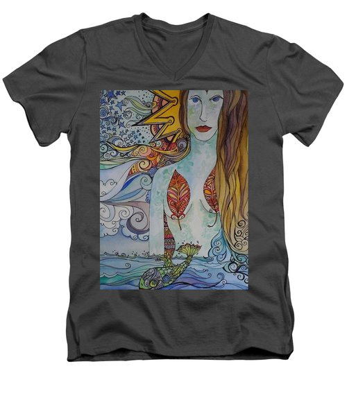 Sun And Sea Godess Men's V-Neck T-Shirt by Claudia Cole Meek