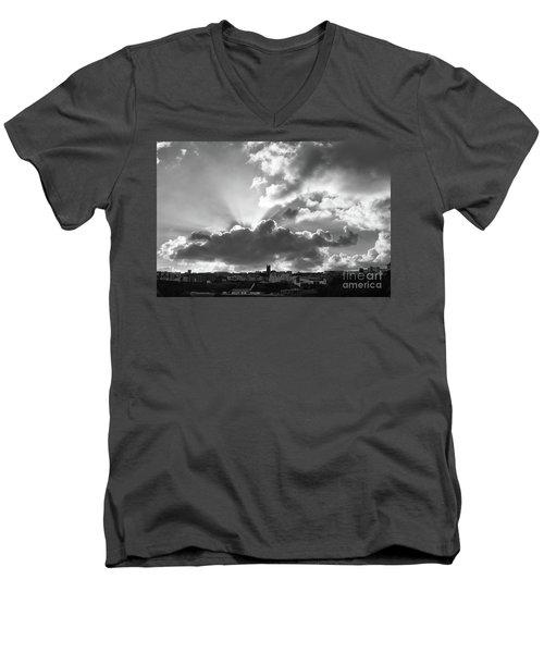 Men's V-Neck T-Shirt featuring the photograph Sun Beams Over Church by Nicholas Burningham