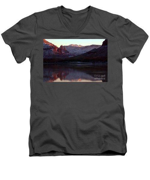 Men's V-Neck T-Shirt featuring the photograph Sun Down At Fisher Towers by Adam Jewell
