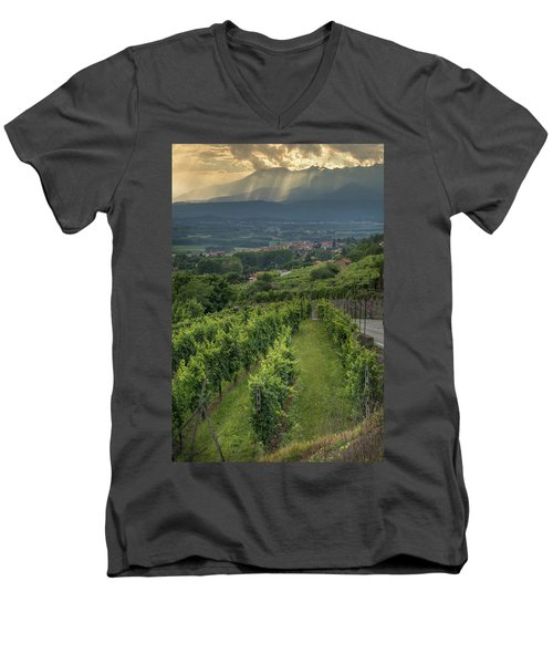 Sun Filtering Through The Clouds  Men's V-Neck T-Shirt