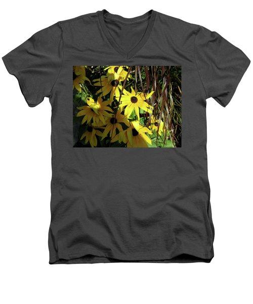 Sun Lit Diasies Men's V-Neck T-Shirt by Michele Wilson