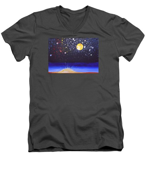 Sun Moon And Stars Men's V-Neck T-Shirt by Donna Blossom