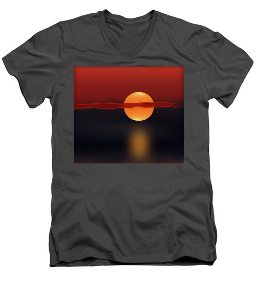 Sun On Red And Blue Men's V-Neck T-Shirt