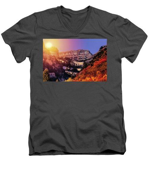 Sun On The Mountain Men's V-Neck T-Shirt