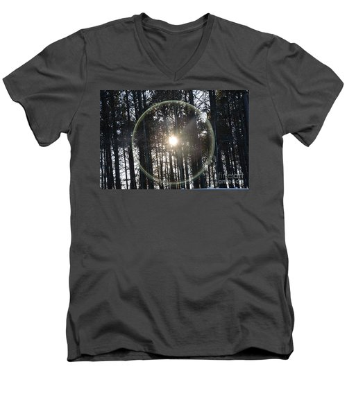Sun Or Lens Flare In Between The Woods -georgia Men's V-Neck T-Shirt